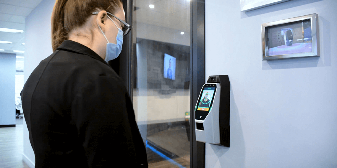 Mask detection with body temperature access control